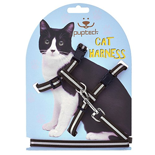 Reflective Adjustable Cat Harness Nylon Strap Collar with Leash Black PUPTECK