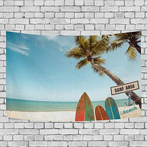 JXZIARON Tapiz Art Paño para Colgar en la Pared Impresión HD Cocina Dormitorio Sala de Estar Decoración,Tabla de Surf Vintage bajo un Fondo Exclusivo de Palmera de 60 x 40 Pulgadas