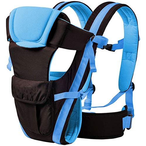 Chinmay Kids 4-in-1 Adjustable Baby Carrier Cum Kangaroo Bag/Baby Carry Sling/Back/Front Carrier for Baby with Safety Belt and Buckle Straps (Black & Sky Blue)