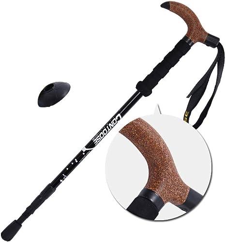 Calkkdie Baton de marche d'alpinisme télescopique en fibre de voiturebone à trois sections, conception de verrou léger et portatif résistant à l'usure, baton de randonnée optionnel multiCouleure en liège EV
