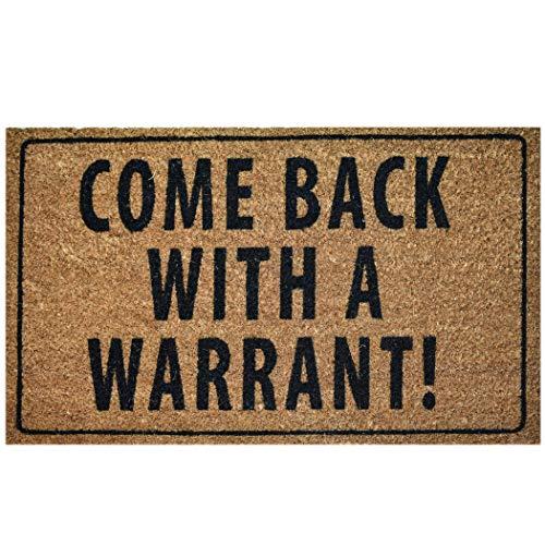 Ninamar Door Mat Come Back with a Warrant Natural Coir – 29.5 x 17.5 inch