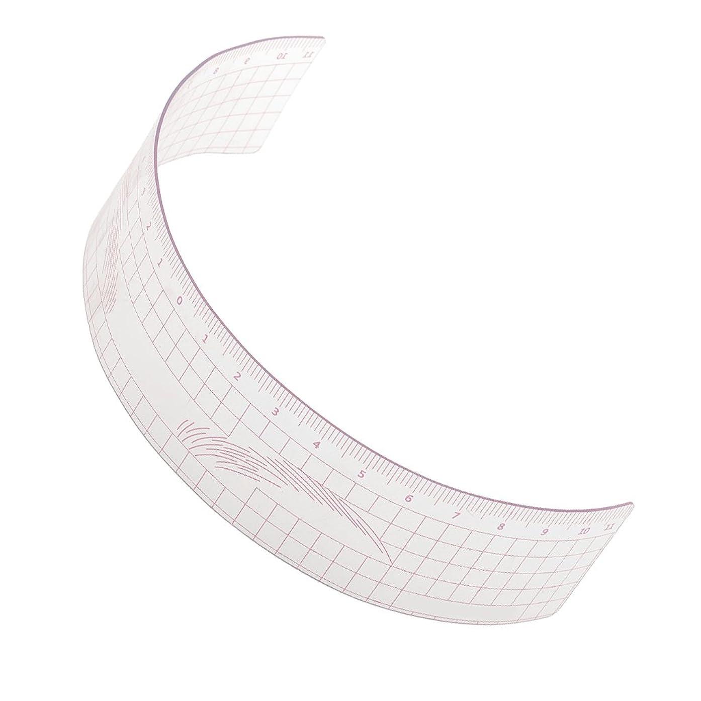 投げ捨てるドメイン目覚めるPerfk 再利用可能 メイク 眉毛ステンシル マイクロブレード 測定用 ルーラー ツール 全3色 - ピンク