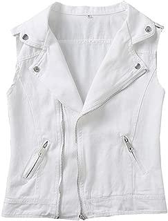 LifeShe Women's Retro V Neck Zipper Denim Vest Sleeveless Jean Vest and Jacket