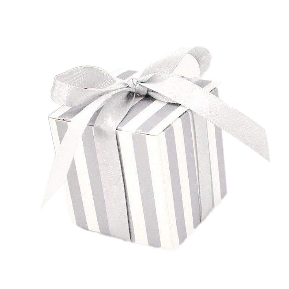 JZK 50 x Cajas de regalo con cinta para fiesta boda cumpleaños navidad bautizo o comunión para dulce bombones caramelos confeti, raya plata: Amazon.es: Hogar