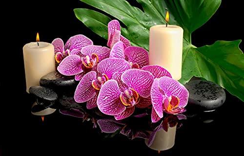 FAWFAW Puzzle di Legno 1000 Pezzi, Zen Spa Pietre Orchidee Candele Regali di Compleanno E Natale Unici Unique(29.52''X19.68'')