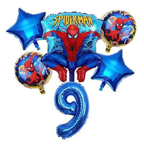 JSJJAET Globos de cumpleaños 1set Spiderman Balloon 32 Pulgadas Número de súper héroe Fiesta Inflable Helio Fiesta de cumpleaños Decoraciones para niños Juguete Globo Globo (Farbe : Blue Set9 6pcs)