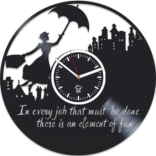 Kovides Mary Poppins 2018 Movies, Vinyl Wall Clock, Handmade Best Gift for Kids, Woman, Man, Boyfriend, Vinyl Record, Office Decoration, Living Room Inspirational, Unique Design, Wall Stickers