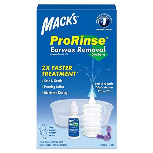 Macks ProRinse Ear Wax Removal System - 0.5 FL OZ Ear Drops, Ear Plugs, Ear Wash Tub & Ear Syringe with Triple-Action Rinse Tip