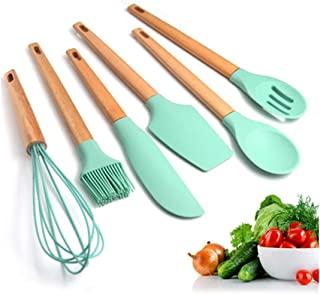 Silicone Cooking Utensils Set Klions USA Warehouse 6 PCS BPA Free Non Toxic Kitchen Gadget with Wood Handles Turner Whisk Spatula Spoon Brush