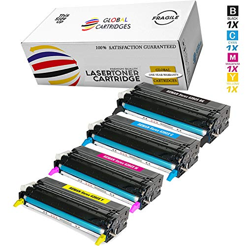 Global Cartridges Remanufactured Toner Cartridges Set Replacement for Xerox Phaser 6280, 6280DN, 6280N (Black,Cyan,Yellow,Magenta)