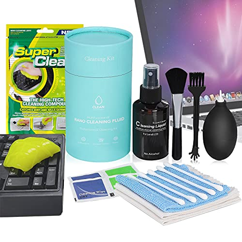 Keyboard Cleaner Kit, FAOUGESS Computer Screen Cleaner Kit Including Cleaning Solution/APS-C Cleaning Swabs/Lens Pen/Air Blower/Cleaning Cloth for Camera Lens, TV, Airpods, Stainless Steel, iPad, etc