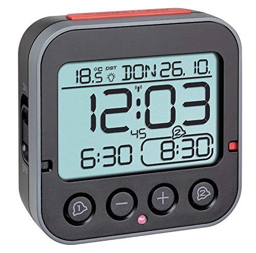 TFA Dostmann Bingo 2.0 digitaler Funk-Wecker mit Temperaturanzeige (schwarz mit Batterien)