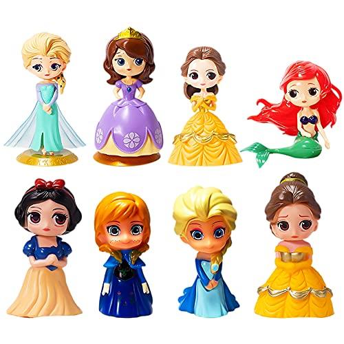 CBOSNF Adornos para Tartas Minifiguras,8 Piezas Mini Princesa Cake Topper de Figuras Niños Suministros decoración Tartas para Fiestas/Mini Juguetes Baby Shower