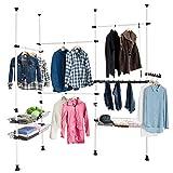 SoBuy FRG38 Teleskop Garderoben System Kleideraufbewahrungssystem Regalsystem mit 4 Kleiderstange...