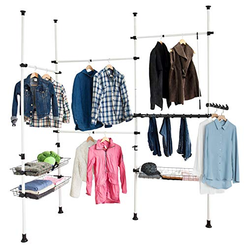 SoBuy FRG38, Telescopic Wardrobe Organiser, Hanging Rail, Clothes Rack, Storage Shelving