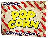 Cartel Letrero de Chapa Diversión Nostálgica Palomitas de maíz fresco