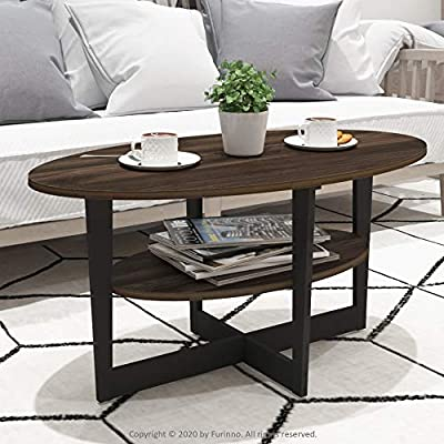 Furinno Oval Coffee Table, Walnut