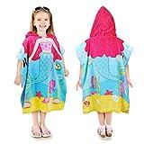 Kato Tirrinia Kinder Meerjungfrau Baumwolle Poncho Handtuch Kapuzen Badetuch Bademantel Schwimmen Strand Tuch Weich Trocknend Handtuch für Mädchen Jungen 60 x 60cm