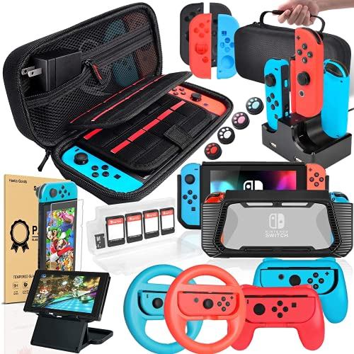 Switch Accessories Bundle Compatible with Nintendo Switch, Kit with Carrying Case, Screen Protector, Compact Playstand, Switch Game Case, Joystick Cap, Charging Dock,Steering Wheel, (18 in 1)