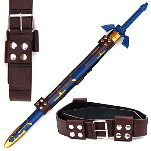 Legend of Zelda Link Master Sword of Time Twilight Princess Replica Sword Standard (Blue with Gold Imprint W/Brown Zelda Belt)
