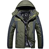 R RUNVEL Mens Coats Waterproof Winter Fishing Jacket Warm Jacket Hiking Ski Fleece Walking Mountain Outdoor Snow Rain Jacket Coat, Olive Green, Medium