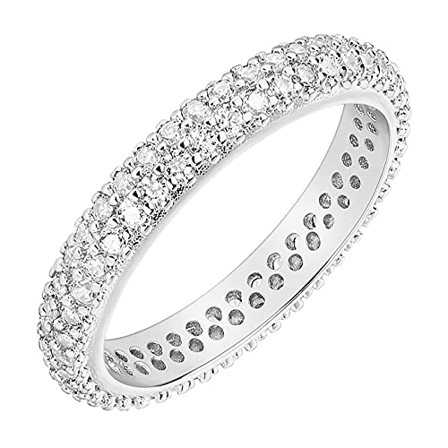 PAVOI 14K Gold Plated Cubic Zirconia Double Row Eternity Band White Gold for Women Size 9