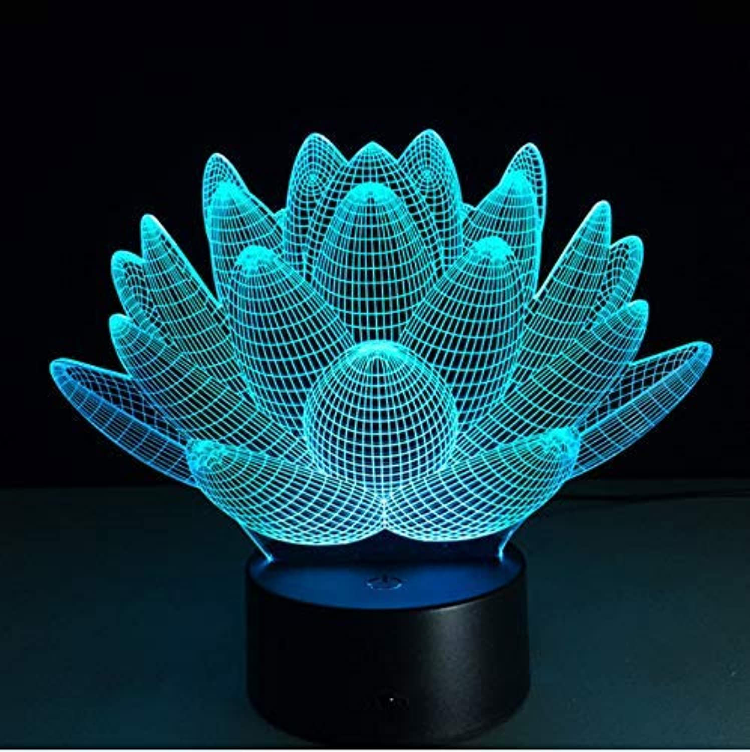 BMY Lotus Flora3D colorful Night Light 7 color Changing Table Lamp Remote Touch Stereoscopic Visual Illusion Lamp Decor Light
