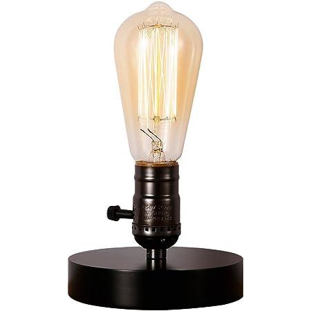 Injuicy Luminaires Rétro Vintage Industrielle E27 Lampe de Table de Culot en Bois Edison Lampe de Bureau pour Chevet Porte D'entrée Salon Chambre Décoration 220 V Noir