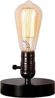 Injuicy Luminaires Rétro Vintage Industrielle E27 Lampe de Table de Culot en Bois Edison Lampe de Bureau pour Chevet Porte...