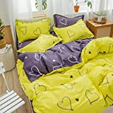 KIKIGO Funky Juego de Ropa de Cama,Double-Sided Duvet Cover and Pillowcase Bedding Set-Heart-Yellow_220*240