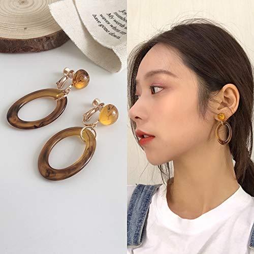 Chwewxi Korea in Windy face Ohrringe weiches Mädchen Temperament Lange Retro einfache Wilde Ohrringe Ohrringe, grün E555 Bernstein Ohrclips