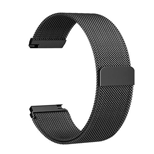 INF Pulsera de Repuesto Premium Fitbit Versa Hecha de Acero Inoxidable Negro S, para Pulsera Fitbit Versa, Pulsera Deportiva clásica Ajustable de reemplazo Compatible con Fitbit Versa, Elegante c