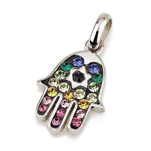 Hamsa ciondolo in argento 925con gemme vari colori + 925argento Sterling catena