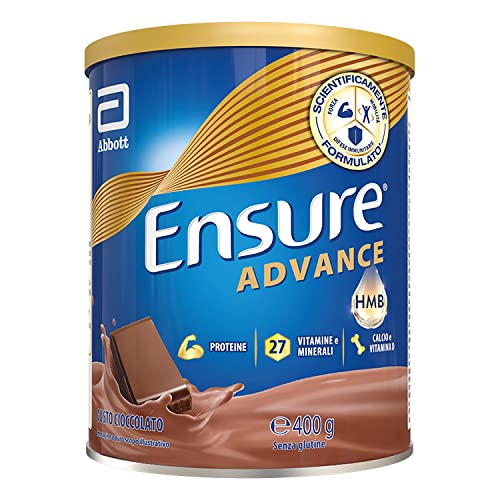 Ensure Advance Formula Nutrivigor Integratore in Polvere, Multivitaminico con 27 Vitamine e Minerali, Integratore Alimentare con Proteine, Calcio e Hmb, Confezione 400g, Gusto Cioccolato