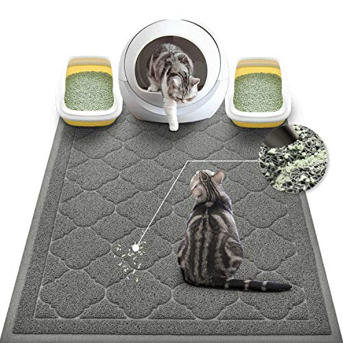 WePet Cat Litter Mat Jumbo, Kitty Litter Trapping Mess Mat, XXLarge Size, 47 x 36 Inch, Premium Durable Soft PVC Rug, No Phthalate, Urine Waterproof, Washable, Scatter Control, Litter Box Pad, Grey