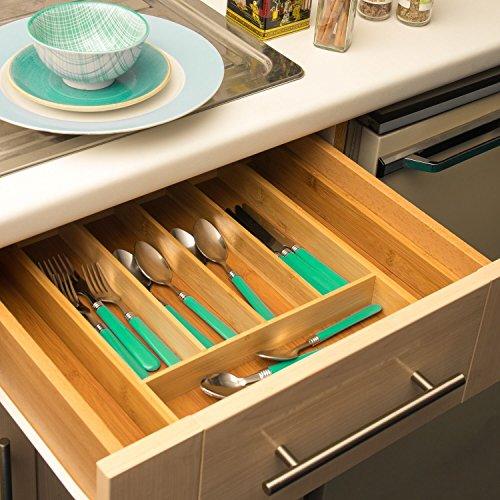 Bandeja para cubiertos de cocina Home Treats Se ajusta al cajón. Bandeja organizadora de cubiertos ajustable para cajón.