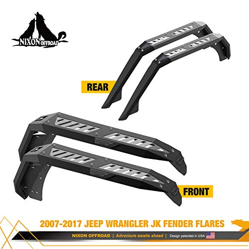 Fender Flares Compatible for 2007-2017 Jeep Wrangler JK/JKU 4 Door and 2 Doors ,NIXON OFFROAD Jeep...