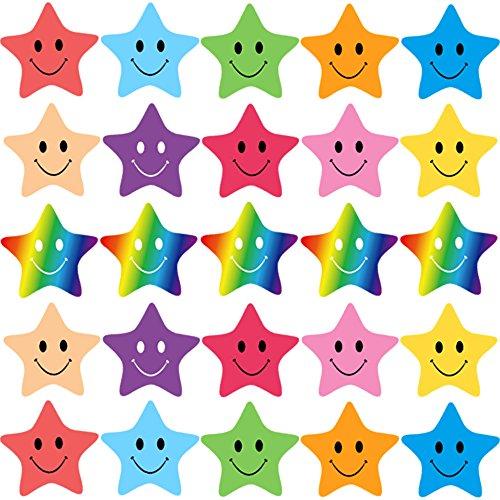 FEPITO 10 Hoja 350 PCS Smiley Star Stickers Mini Pegatinas para Profesores, Padres Kids Craft Scrap Books Decoration, Multi Color