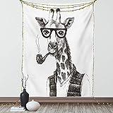 Lunarable Quirky Tapisserie Twin Size, Giraffe Smoking Dressed Up Zoo Animal Fun Hipster-Stil Zeichnung Wandbehang Tagesdecke Bettüberwurf Wanddekoration, 172,7 x 223,5 cm, Anthrazitgrau / Weiß