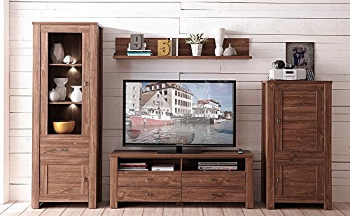 lifestyle4living Wohnwand, Anbauwand, TV-Wand, 4-TLG. Akazie dunkel Nachbildung inklusive LED-Beleuchtung, Gesamtmaß der Anbauwand: B/H/T ca. 320/203/40 cm