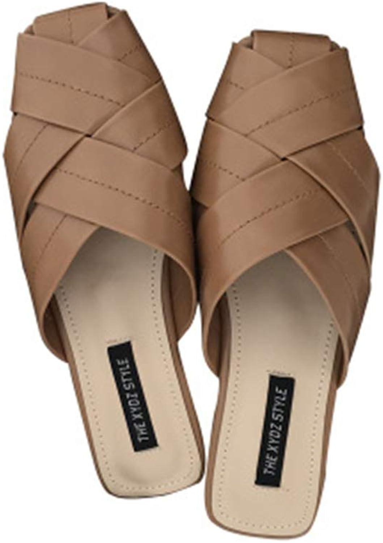 FLourishing Women Easy Closed Toe Cutout Slide Mule Moccasins Crisscross Penny Slip-On Sandals Backless Loafer shoes