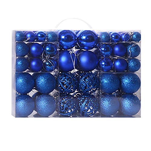 Christmas Balls Ornaments for Christmas Tree, Shatterproof Christmas Ball Ornaments Decoration Blue Gold White Red Pink Purple Silver, Large Christmas Ball Set for Holiday Wedding Party Decor (Blue)