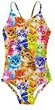 AIDEAONE Badeanzug Mädchen Mode Drucken Katze Mehrfarbig Badeanzug 5-6 Jahre