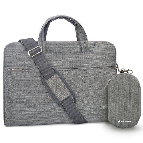 YOUPECK 14 15.4 Zoll Laptop-Tasche, Laptop-Umhängetasche, wasserdichte Notebooktasche, Tragetasche mit Tragegurt für MacBook Air Pro 15 HP Stream 14, Denim hellgrau