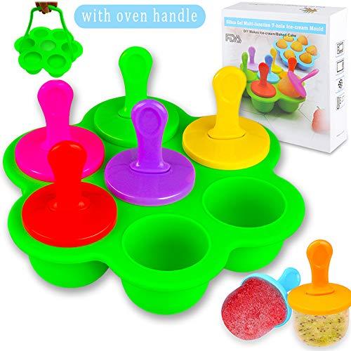 Eisformen Eis am Stiel Silikon, 7 Mulden Eisform mit Kunststoffstäbchen, Mini Eisförmchen Stieleisformer BPA Frei, Multifunktionale Popsicle Form für Kinder