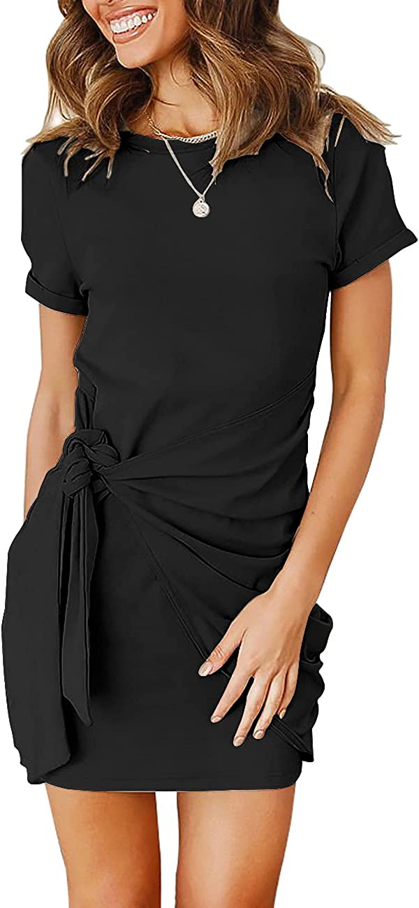 HeSaYep Women's Summer Bodycon Dress Short Sleeve Crewneck Mini Dresses 2021 Casual Ruched Tie Waist T Shirt Dress