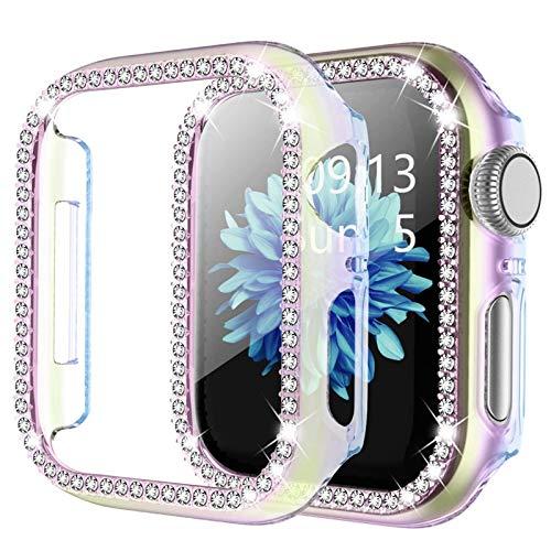 DXFFOK Para Apple Watch 6 SE Funda de 44 mm 40 mm Series 5 4 Bling Rhinestone Completo Alrededor de Las Cajas de PC para iWatch 3 42mm 38mm Mujer Cubierta de la Caja Reloj Correa