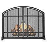LiQi Salvachispas Chimenea Pantalla Plana Negra para Chimenea de Un Solo Panel con Puerta, Moderno Protector de Pantalla contra Incendios de Hierro para Seguridad para Bebés Mascotas