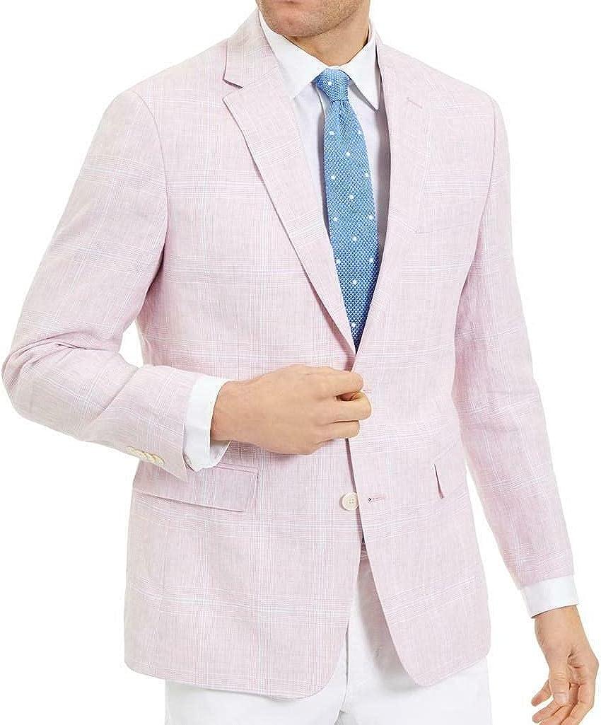 Tommy Hilfiger Mens Trevor Linen Windowpane Sportcoat Pink 44L