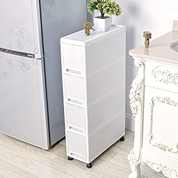 Amazon Com Shozafia Narrow Slim Rolling Storage Cart And Organizer 7 1 Inches Kitchen Storage Cabinet Beside Fridge Small Plastic Rolling Shelf With Drawers For Bathroom Kitchen Dining